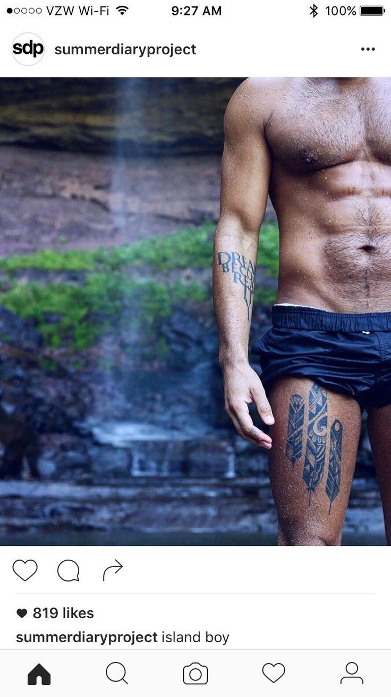 Leg Tattoo - Feather - Native