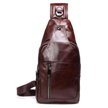 Men Business Genuine Leather Chest Bag Shoulder Bags Crossbody Bags - US$59.99