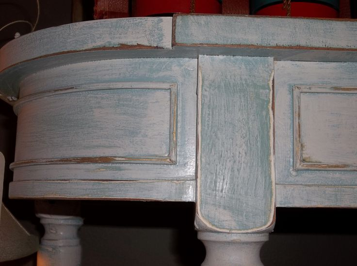Paint detail of hall table.