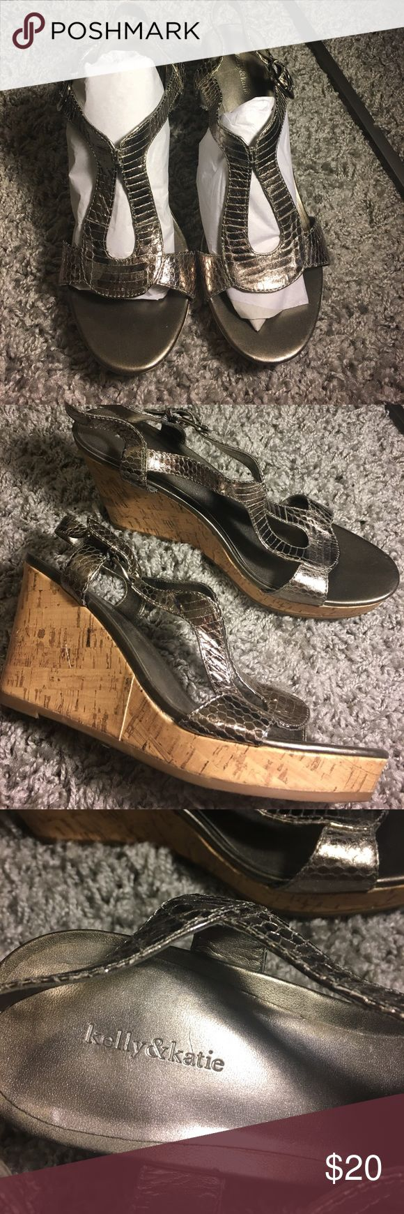 Silver wedge sandals 3 inch wedges with a 1 inch platform Kelly & Katie Shoes Wedges