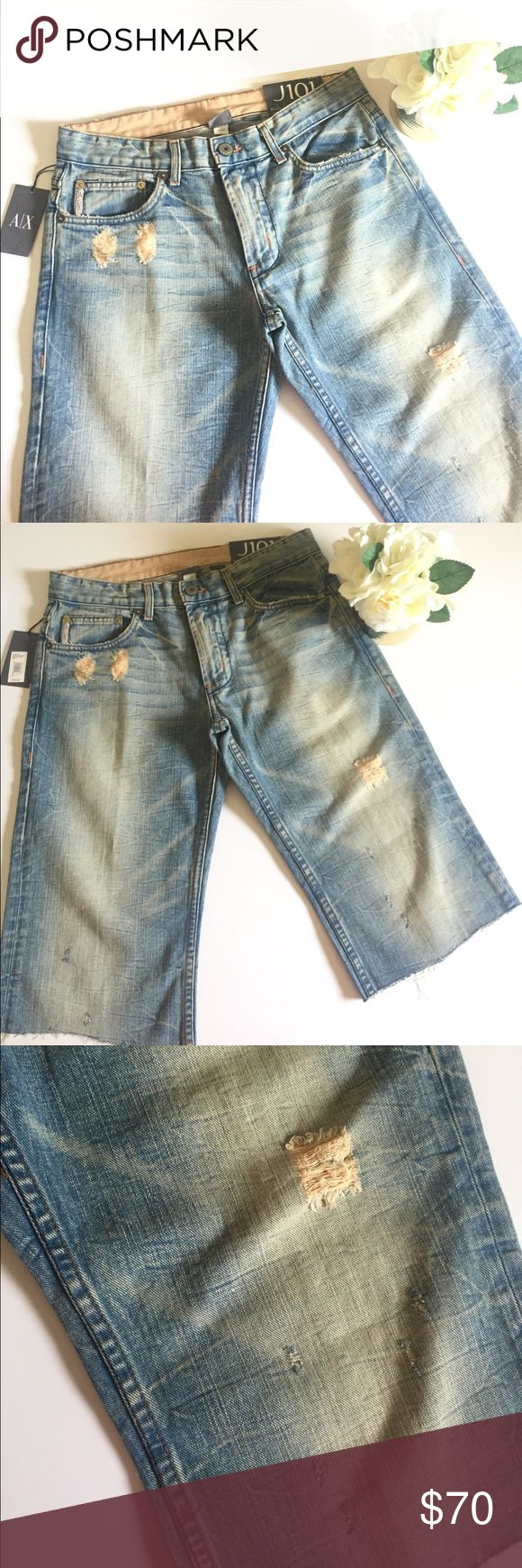 """[ Armani Exchange ] Boot Leg Low Rise Jean Shorts Super relaxed look with these cut off shorts . Could also be described as Bermudas or Capri shorts. Distressed and light wash .                       Flat lay measurement :  Waist: 16.5"""" Rise: 10"""" Inseam: 16"""" All items come from a smoke/pet free  home. ☺️ A/X Armani Exchange Shorts"""