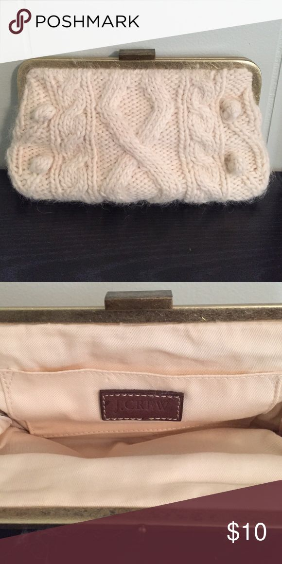 J. Crew White Clutch White cable knit sweater clutch. Very good condition. Measured flat bag is about 5 x 8 inches Bags Clutches & Wristlets