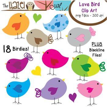 Love Birds Clip Art!  Plus 12 BONUS Graphics!  Get 'em in time for Valentine's Day!  $