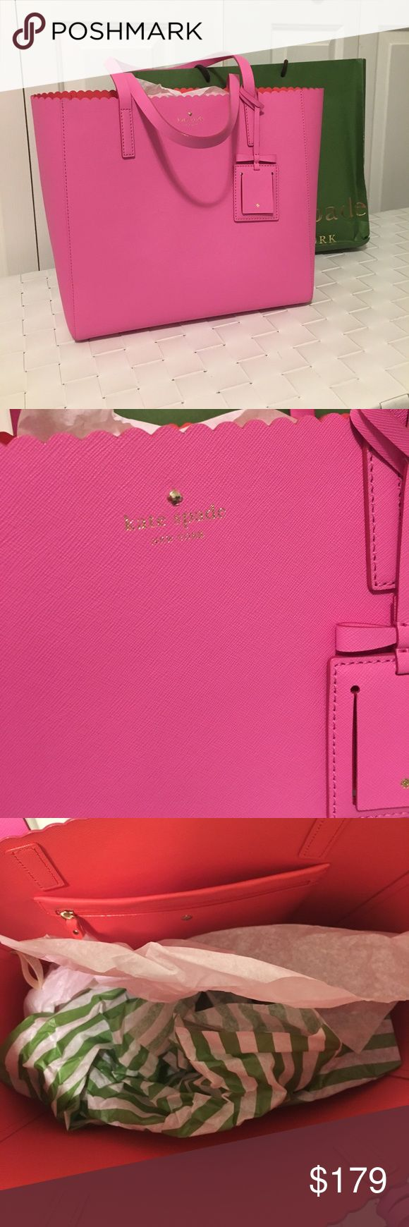NWOT Kate spade cape drive hallie Tote Bag Brand new without tags, never used, matches the wallet I have for sale, pink exterior, red interior, comes with gift bag(which in fair condition from months of storage), no flaws on the actual bag authentic kate spade Bags Totes