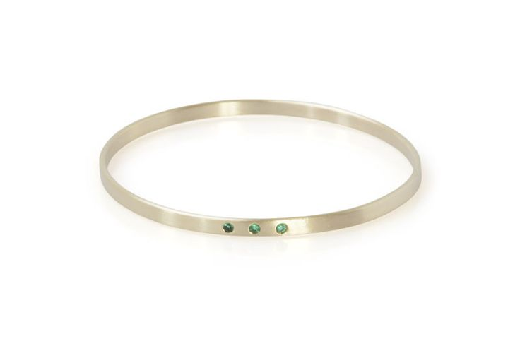 May Birthstone Bangle. Emerald.  Handmade in South Africa by Milame Design