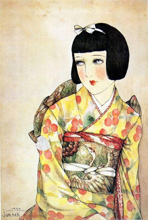 「少女の友」昭和十年一月号表紙用原画 中原淳一(1935) Syôjyo no tomo, Nakahara Junichi