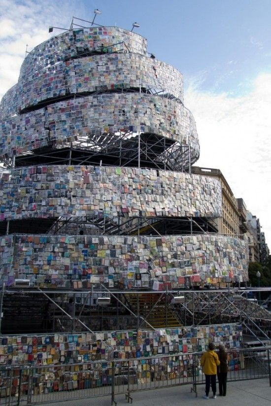 Tower made of 30,000 books in Buenos Aires - Wendy
