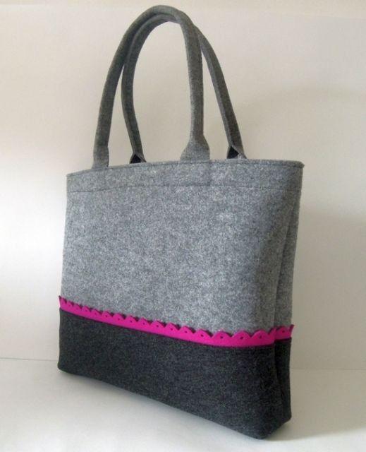 Handmade xlarge black & grey tote felt handbag with zip and pink trim