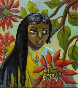 Maggie Laubser /Indian girl with poinsettias /Bonhams