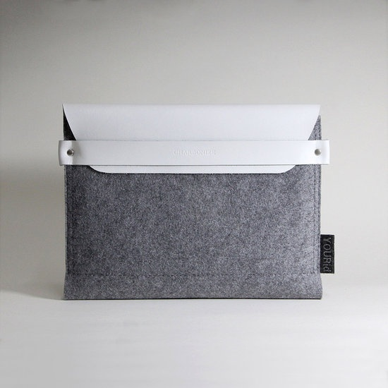 White leather and gray wool Kindle case $49: Fashion Style Hair, Laptops Computers, Gray Wool, Classic White, White Leather, Laptops Accessories, Ipad Sleeve, Products, Bags