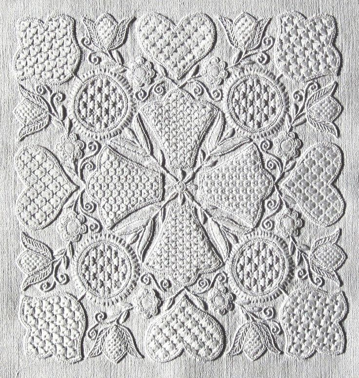Today Schwalm Whitework is represented in many diverse ways. Alexandra Thielmann, Thekla Gombert, Anneliese Grein, Leni Klingelhöfer, Maria Jung, Irmgard Mengel as well as Luzine Happel are names associated with different styles. Luzine Happel has devised a wealth of new filling patterns and thus gives a new and modern look to the embroidery. SEE HER EXCELLENT BOOKS ON THIS SITE TOO.... http://www.luzine-happel.de/?page_id=246=en
