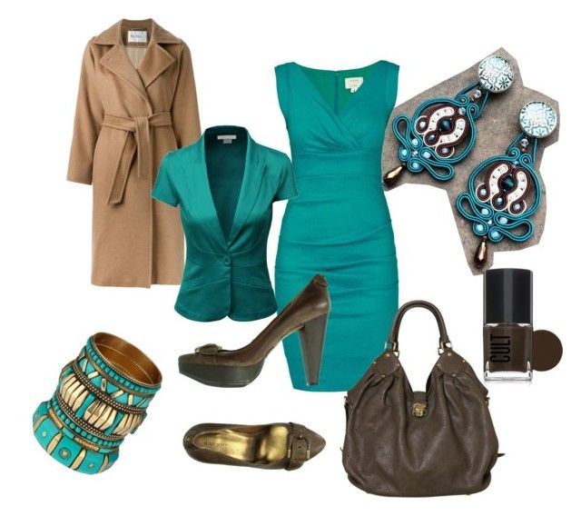 teal at work by galeriamagia on Polyvore featuring moda, Nicole Miller, MaxMara, Doublju, Nine West, Louis Vuitton and ALDO