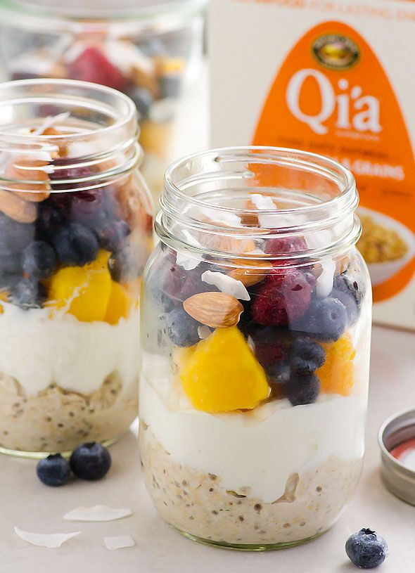 Overnight Superfoods Oat Parfait plus a Giveaway -- Clean Eating breakfast in the fridge for a week. Warm or cold, with fruit or berries of choice. Can be vegan. Plus $100 value giveaway from Nature's Path.