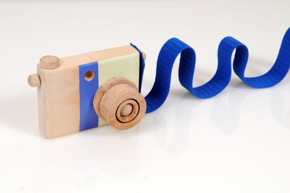 Wooden Toy Camera  Handmade Play Camera  Medium blue by beigebois, €24.00