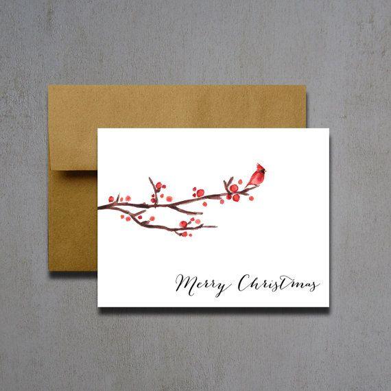 Weihnachten Karten - Kardinal-Weihnachtskarten - Weihnachtskarten - Urlaub Karten - fröhliche Weihnachtskarten - Aquarell Weihnachtskarten