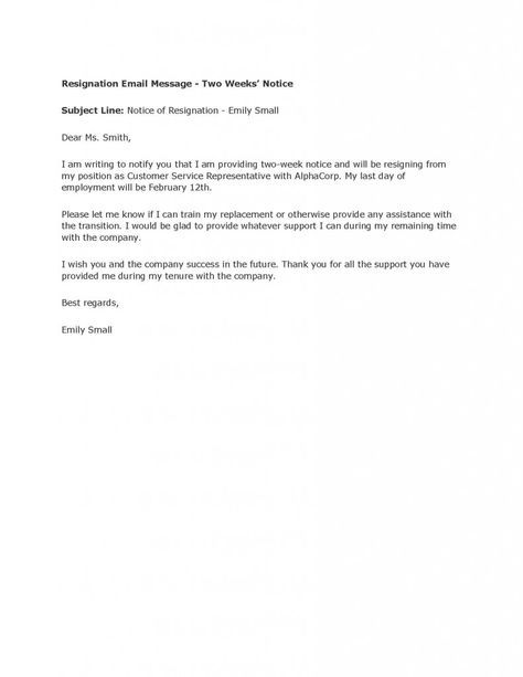Resignation Letter Format, Email Message Resignation Letters 2 Weeks Notice Notification Support Provided Remaining Times Customer Service ~ resignation letters 2 weeks notice formal polite ways