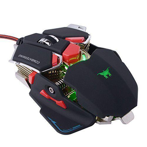 EasySMX [ Souris Gaming ] Dernière Optique USB Souris Gamer Ailes de Combattant avec 4800 DPI 10 Programmables Boutons Souris Gaming…