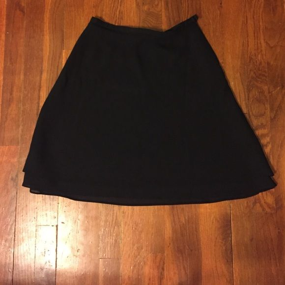 Black knee length skirt with two layers Black knee length skirt with two layers Skirts Midi