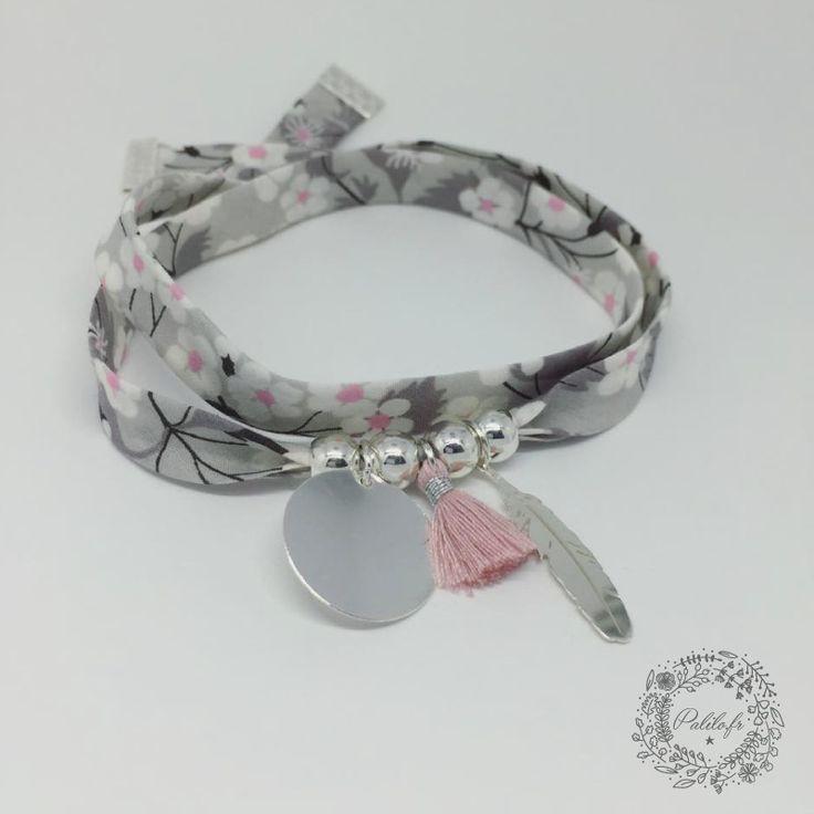 Bracelet GriGri XL Liberty avec GRAVURE PERSONNALISÉE, plume Argent et Pompon by Palilo : Bracelet par palilo