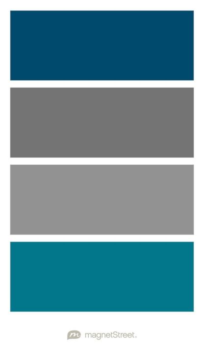 Custom Blue, Charcoal, Classic Gray, and Peacock Wedding Color Palette -  custom color