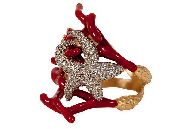 - Misis Coral Sea Life Ring, Size 7