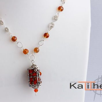 Unique Necklace / Wire Lantern Pendant / Necklace / Statement Trend Necklace / Wire wrapped chain / Fun Party Necklace / KTC-152