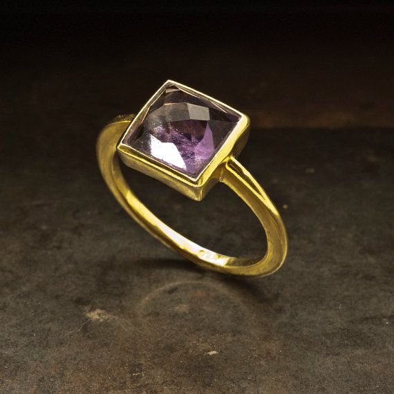 Amethyst Gold Ring Natural Purple Amethyst by SunSanJewelry