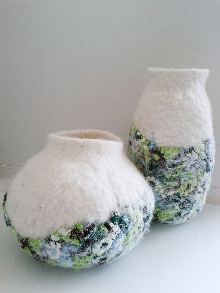 wet felted vessels with vintage lace in 2013 SOLD Geskea Gea Andriessen facebook.com/DeGroeneUil
