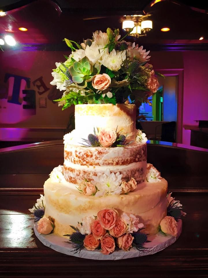Simple Naked Vanilla Buttercream Wedding Cake With Flowers By Incredible Edibles In Virginia Beach And Richmond