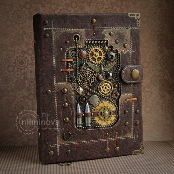 Steampunk journal A5, Steampunk gift for brother, Blank book brown diary Steampunk Accessories Valen