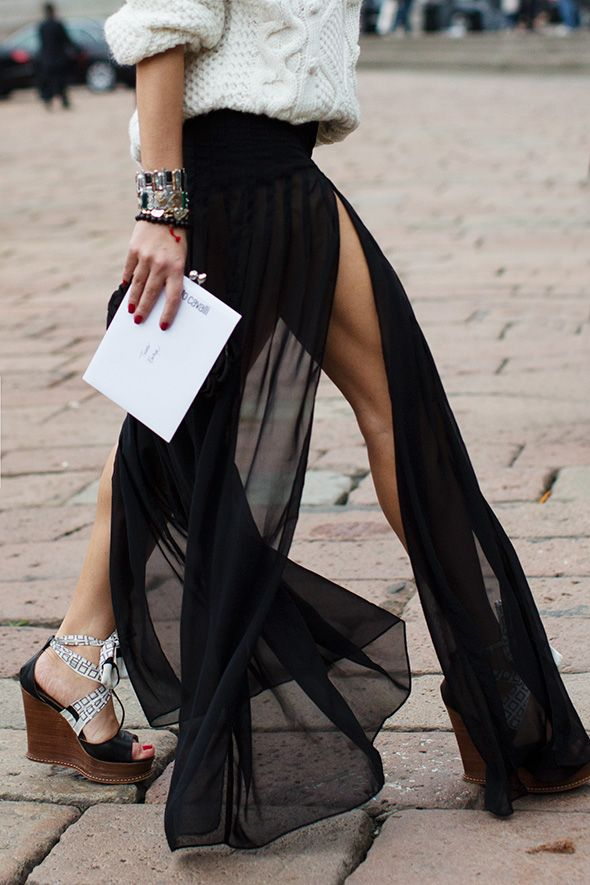 The odd couple -- cable sweater, sheer maxi skirt @ Robert Cavalli SS13 | The Sartorialist