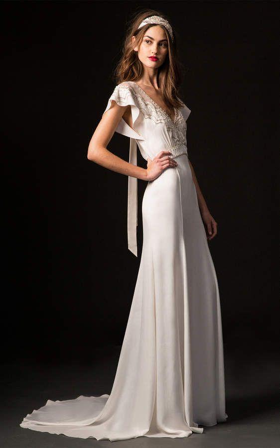 3fde2efbf8 Temperley London Bridal Celeste V-Neck Gown with Embroidered Bodice