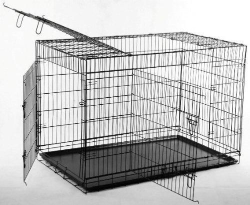 "NEW Black 36"" 3 Door Pet Folding Dog Crate Cage Kennel w/Metal Tray #14  #BestPet"