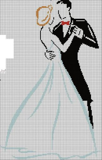 wedding couple cross stitch