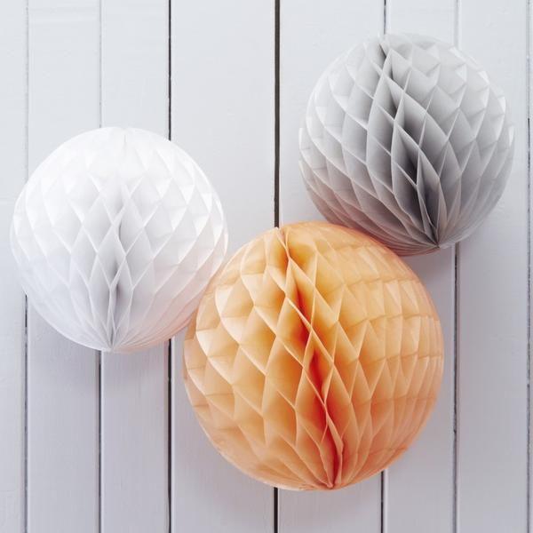Peach, Grey & White Honeycomb