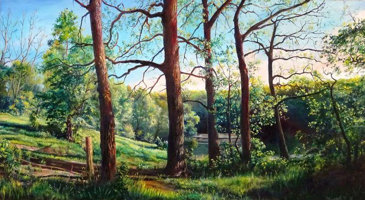 Воронежсий центральный парк - Pittura,  90x50 cm ©2016 da Роман Жиляев -                                                                      Realismo, Tela, Paesaggio, Natura
