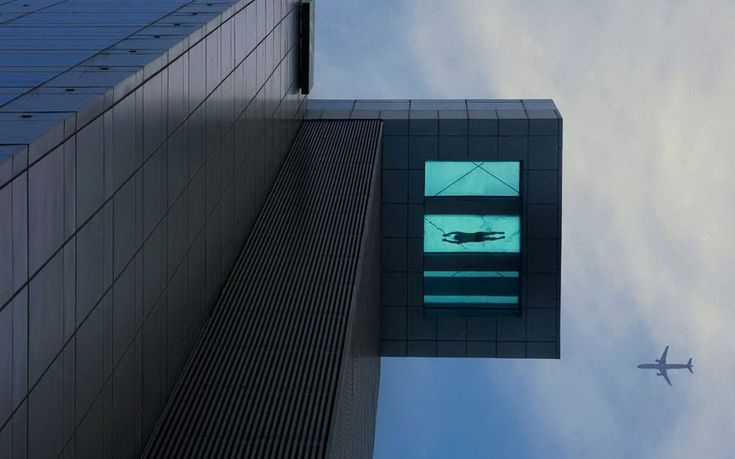 Only people with a real head for heights will dare to swim in the pool at The Holiday Inn Hotel in Shanghai. Part of the swimming pool, located on the 24th floor, extends over the side of the building and has a transparent bottom.