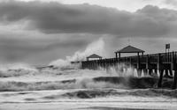 Juno Beach Pier with Hurricane Sandy supplied waves.