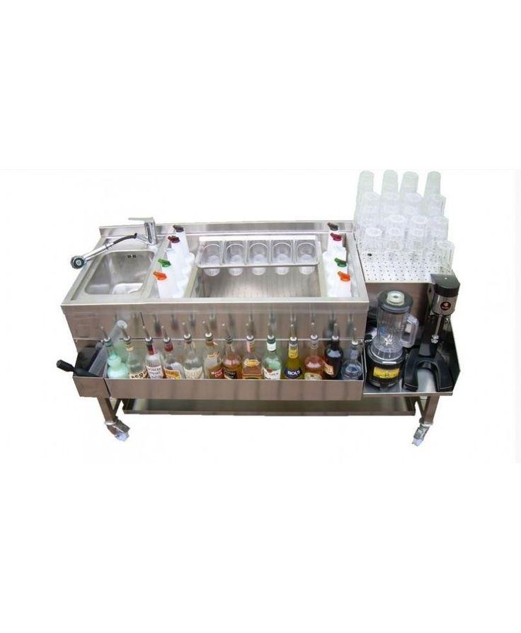 Bar station completa di blender speed racks, vasca per ghiaccio e portavaschette, articolo personalizzabile su richiesta