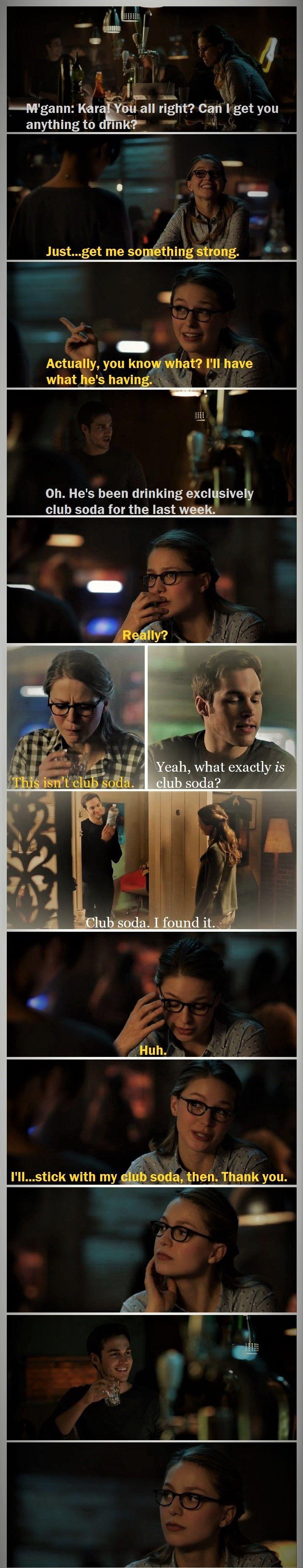 Kara and Mon-El are making me CRAVE club soda. It's both cute and annoying. (Side note: I love how M'gann is like the all-knowing bartender in this scene. She gets Kara's mood.) |TV Shows||CW||#Supergirl edit||2x11||2x09||Kara x Mon-El||#Karamel edit||Kara Danvers||Melissa Benoist||Chris Wood||#DCTV|
