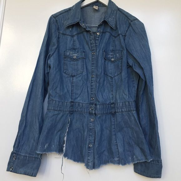 Denim ripped shirt Has a lot of rips, got it like that. Has some paint on right back shoulder (might wash off) Jeans