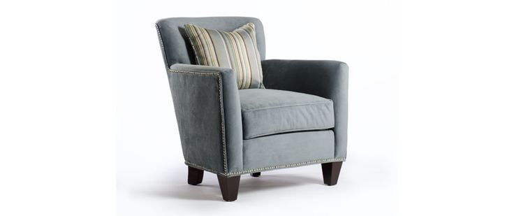 """Suzanna Fabric: Bella Cornflower Includes one toss pillow 20"""" x 20""""  CHAIR (as shown) Length (overall) 31"""" Length (inside) 22"""" Depth (overall) 33"""" Depth (seat) 22"""" Height (overall) 35"""" Height (arm) 25"""" Height (seat) 22"""""""