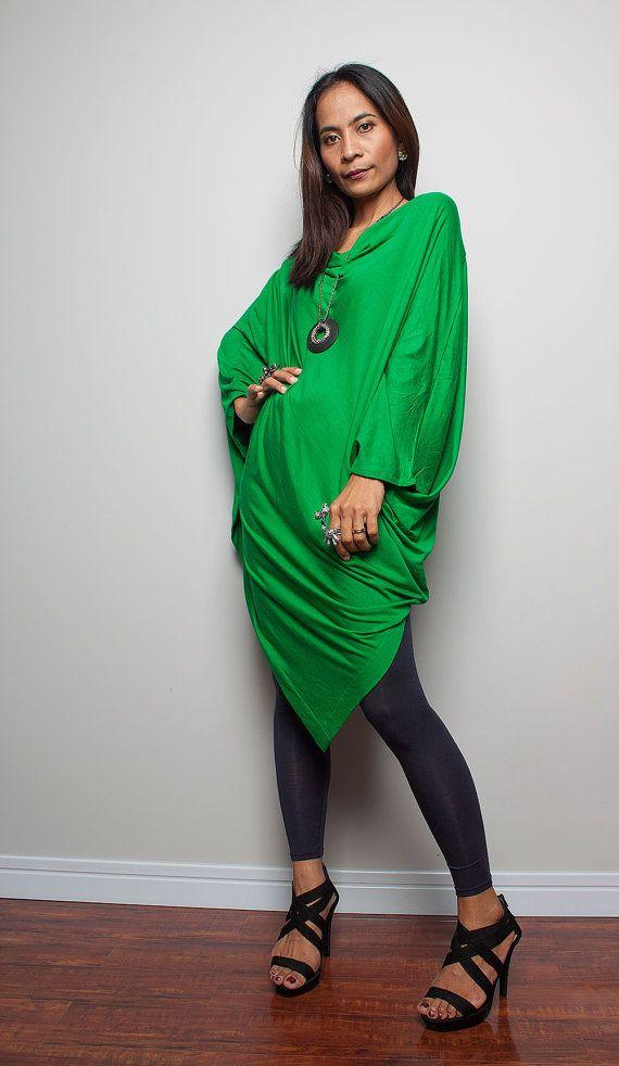 Green Sweater Dress / Batwing Tunic / Top Dress : Urban от Nuichan