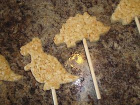 Dip it in Chocolate: Chocolate-dipped Dinosaur Rice Krispy Treat Pops