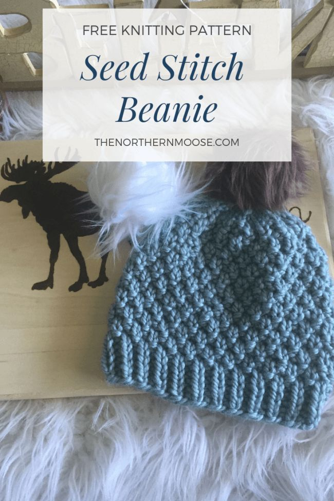 c79e54a943888 Free knitted hat pattern. Seed stitch hat pattern. This knitted hat has so  much