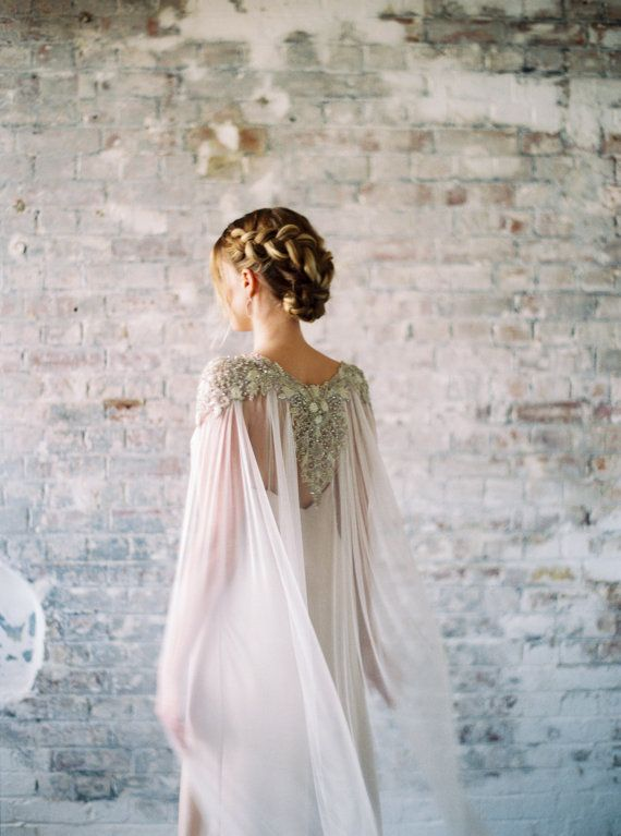 BRIDAL CAPES. Lakshmi  Beaded Crystal Pearl Silk Train  Byzantine