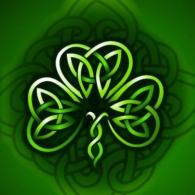 Celtic shamrock with Celtic knot in background.