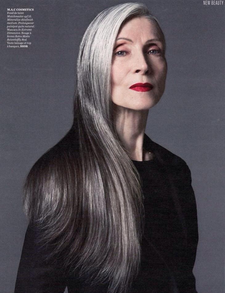 Older Models Eveline Hall Long Gray Hair Makeup For