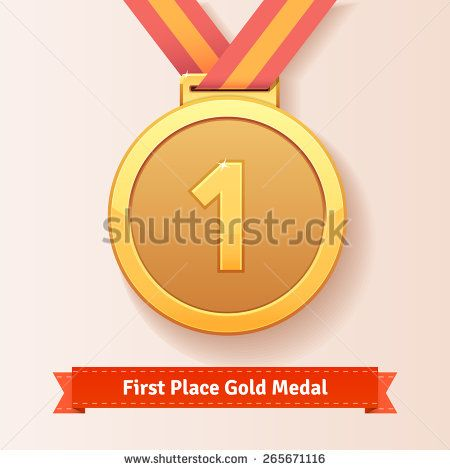 First place award gold medal with red ribbon. Vector icon. - stock vector