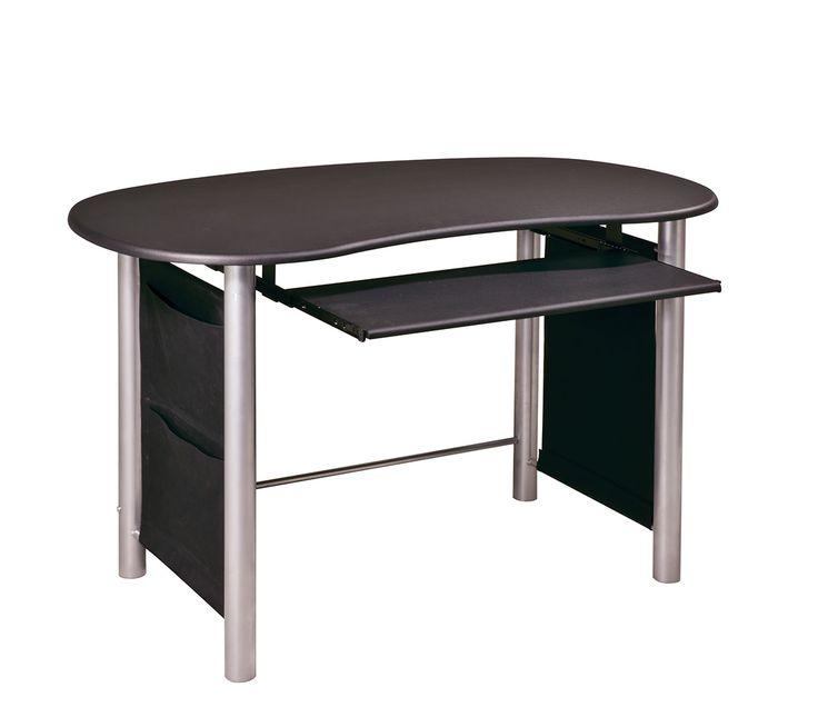 hi tech office products. multimedia computer desk mixed media workstation hitech black finish silver metal accents hi tech office products